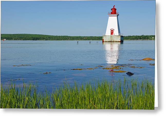Shelburne Greeting Cards - Sandy Point Lighthouse Greeting Card by Nomad Art And  Design