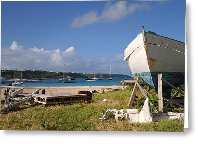 Blue Sailboats Greeting Cards - Sandy Pond boat yard in Anguilla Caribbean Greeting Card by Toby McGuire