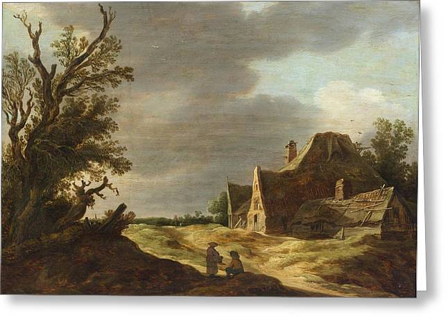 Landscape With A Road Greeting Cards - Sandy Road with a Farmhouse Greeting Card by Jan van Goyen