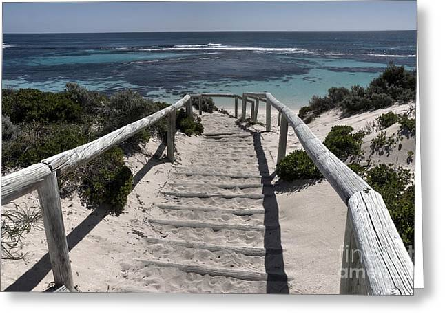 Wooden Steps Greeting Cards - Sandy Steps  Greeting Card by Rob Hawkins