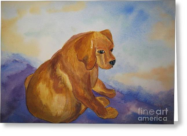 Puppies Paintings Greeting Cards - Sandy with Attitude Greeting Card by Ellen Levinson