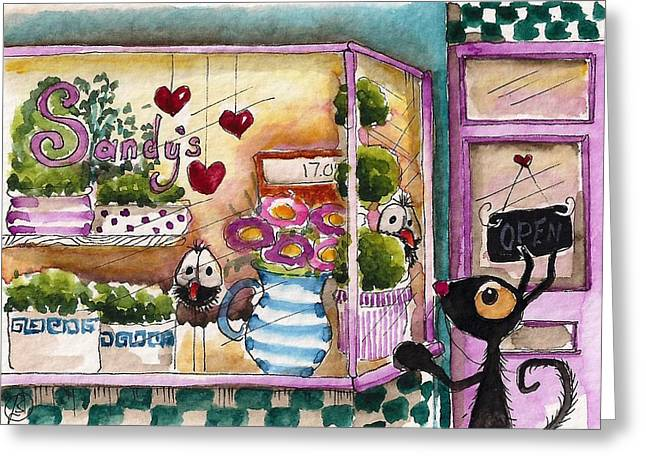 Store Fronts Greeting Cards - Sandys floral shop Greeting Card by Lucia Stewart