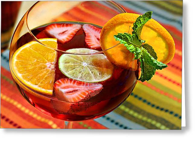 Fruit And Wine Greeting Cards - Sangria Greeting Card by Carol Eade