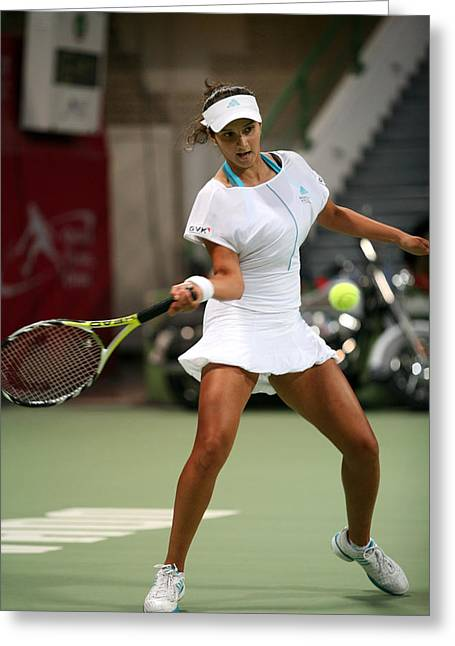 Women Tennis Greeting Cards - Sania Mirza on the ball in Doha Greeting Card by Paul Cowan