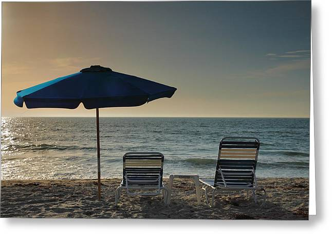 Empty Chairs Greeting Cards - Sanibel Ease I Greeting Card by Steven Ainsworth