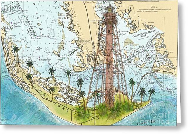 Nautical Chart Greeting Cards - Sanibel Island Lighthouse FL Nautical Chart Map Art Cathy Peek Greeting Card by Cathy Peek