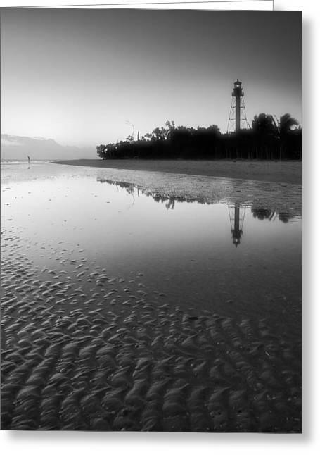 Ocean Landscape Greeting Cards - Sanibel Lighthouse And Beach II Greeting Card by Steven Ainsworth