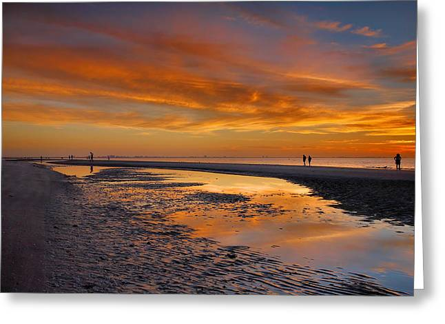 Setting Framed Prints Greeting Cards - Sanibel Sunset III Greeting Card by Steven Ainsworth