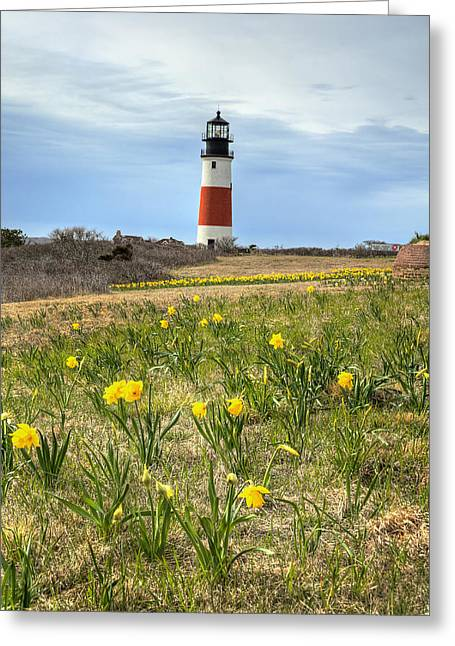Breezy Greeting Cards - Sankaty Lighthouse Nantucket Greeting Card by Donna Doherty