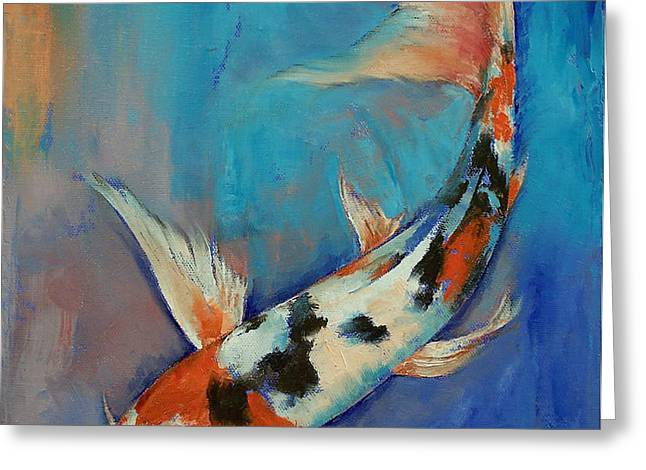 Sanke Butterfly Koi Greeting Card by Michael Creese