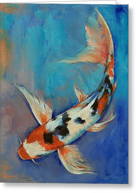 Coy Greeting Cards - Sanke Butterfly Koi Greeting Card by Michael Creese
