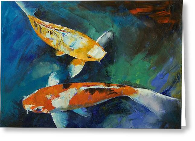Koi Pond Greeting Cards - Sanke Koi Painting Greeting Card by Michael Creese