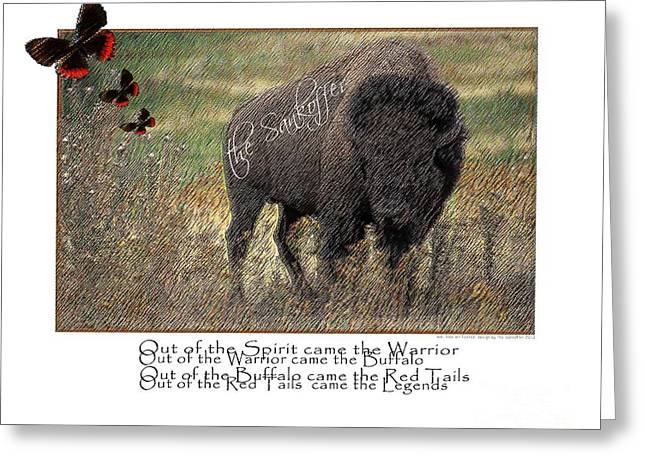 The American Buffalo Digital Art Greeting Cards - Sankoffing the Riddle of the Legends Greeting Card by The Sankoffer