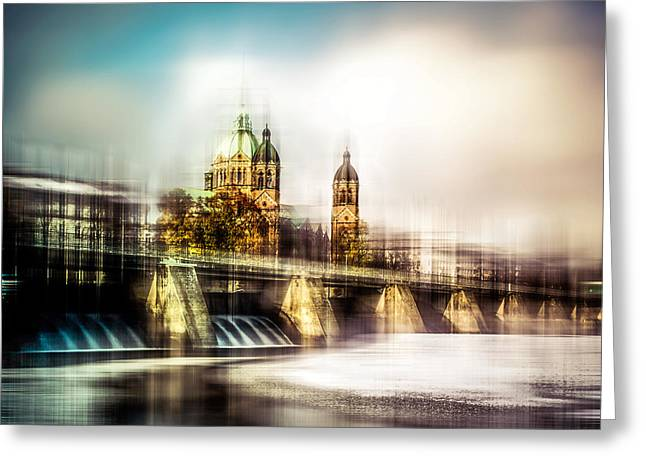 Longtime Exposure Greeting Cards - Sankt Lukas Kirche Greeting Card by Hannes Cmarits