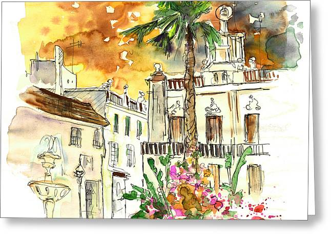 Town Square Drawings Greeting Cards - Sanlucar de Barrameda 02 Greeting Card by Miki De Goodaboom