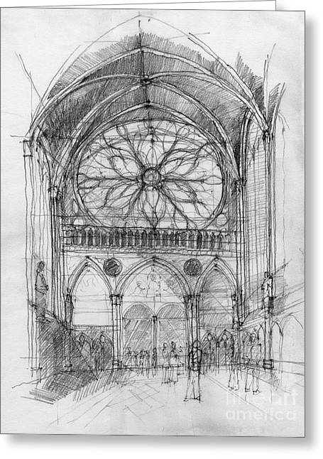 European work Drawings Greeting Cards - Sant Cahpelle interior Greeting Card by Peut Etre
