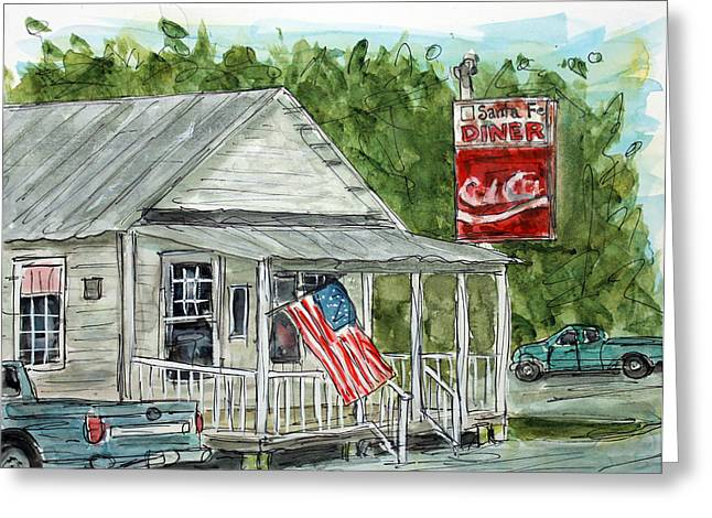 Tim Ross Greeting Cards - Santa Fe Diner Greeting Card by Tim Ross