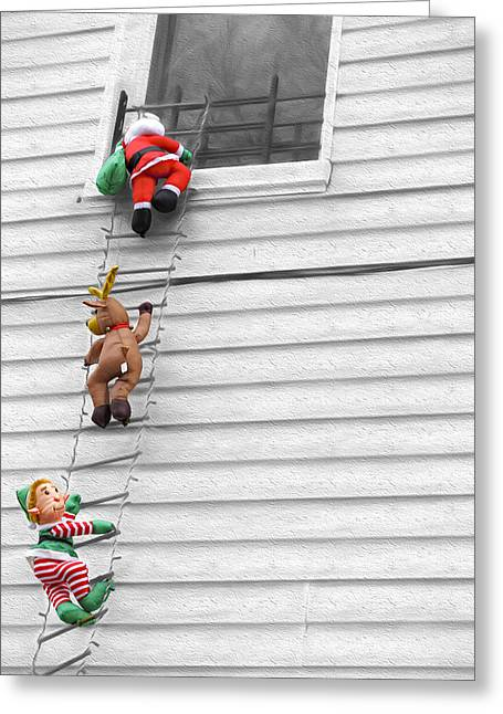 Old Saint Nick Greeting Cards - Santa and his helpers II Greeting Card by Keith Yates