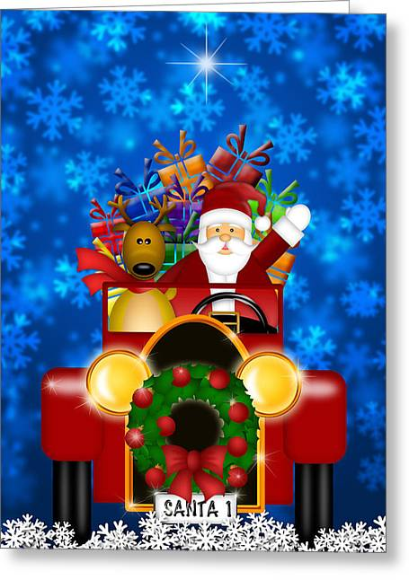 Delivering Presents Greeting Cards - Santa and Reindeer Riding in Vintage Red Car Greeting Card by JPLDesigns