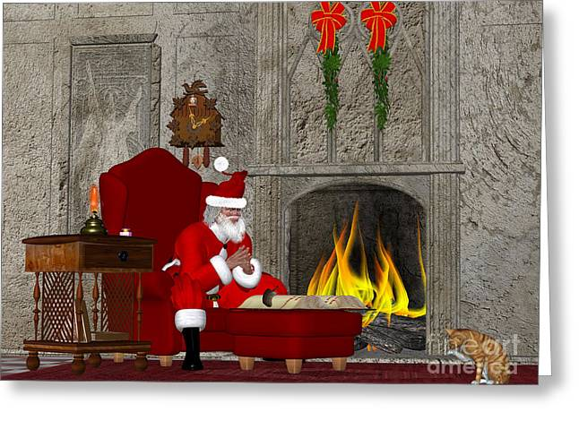 White Beard Greeting Cards - Santa and the Naughty and Nice Book Greeting Card by Corey Ford