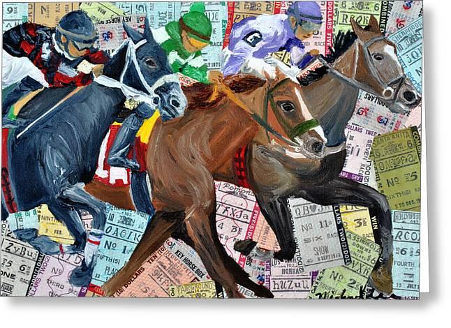 Race Horse Mixed Media Greeting Cards - Santa Anita Greeting Card by Michael Lee
