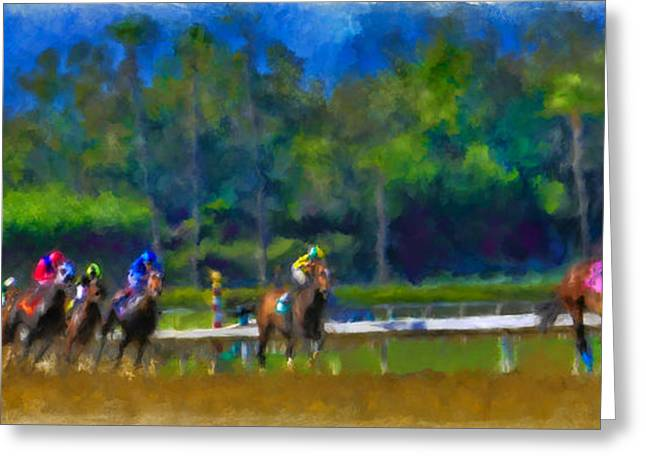 Historic Home Mixed Media Greeting Cards - Santa Anita Races Greeting Card by Andrea Auletta