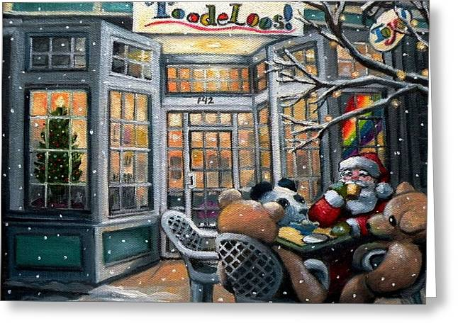 Toy Store Paintings Greeting Cards - Santa At Toodeloos Toy Store Greeting Card by Eileen Patten Oliver