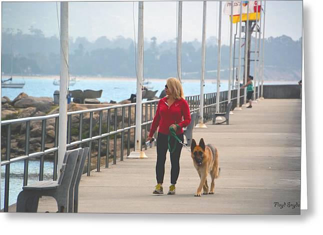 Dog Walker Greeting Cards - Santa Barbara Breakwater 3 Greeting Card by Barbara Snyder