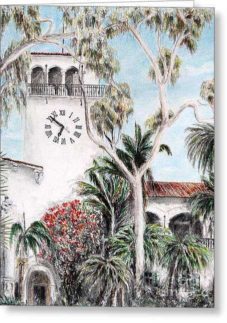 City Hall Drawings Greeting Cards - Santa Barbara Clock tower Greeting Card by Danuta Bennett