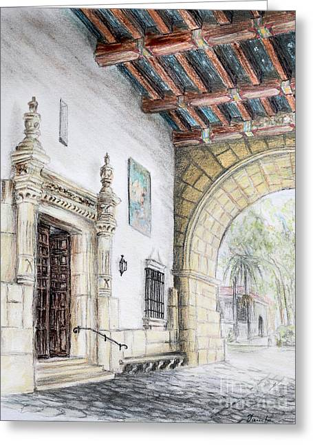 City Hall Drawings Greeting Cards - Santa Barbara Courthouse Arch Greeting Card by Danuta Bennett