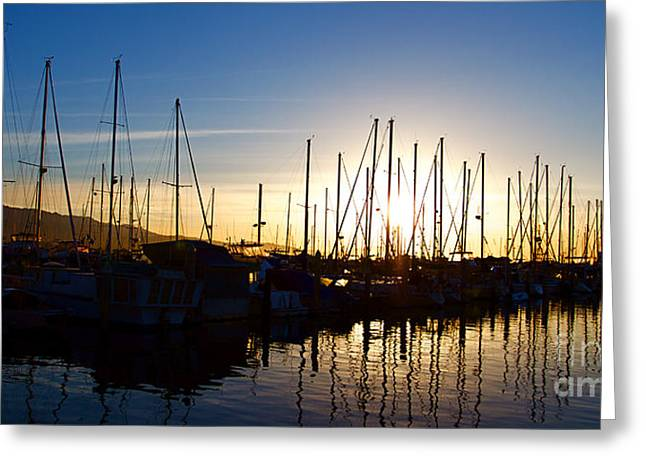 Panoramic Ocean Photographs Greeting Cards - Santa Barbara Harbor with Yachts Boats at Sunrise in Silhouette Greeting Card by ELITE IMAGE photography By Chad McDermott