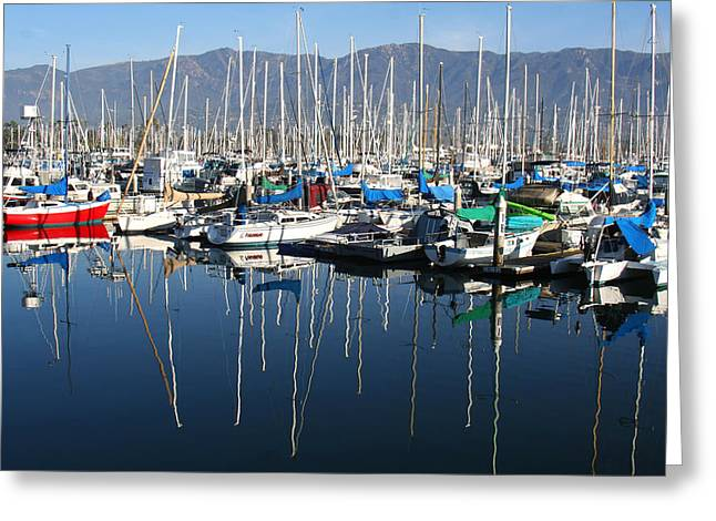 Santa Barbara Art Greeting Cards - Santa Barbara Marina Greeting Card by Art Block Collections