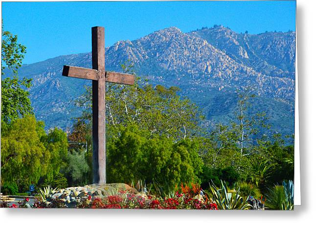 Saint Barbara Greeting Cards - Santa Barbara Mission Cross Greeting Card by Barbara Snyder