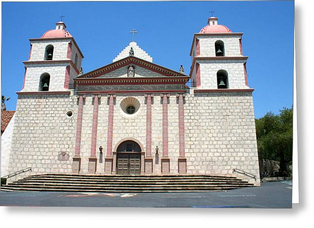 Catholic Pyrography Greeting Cards - Santa Barbara Mission Greeting Card by DUG Harpster