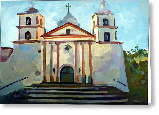 Roman Mixed Media Greeting Cards - Santa Barbara Mission Greeting Card by Filip Mihail