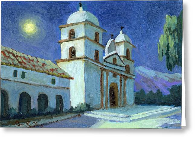 Moonlight Scene Paintings Greeting Cards - Santa Barbara Mission Moonlight Greeting Card by Diane McClary