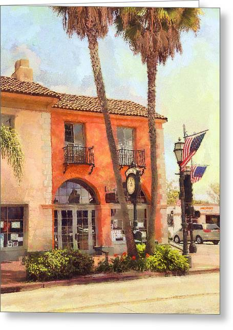 Stars And Strips Greeting Cards - Santa Barbara State And Haley Streets Greeting Card by Viktor Savchenko