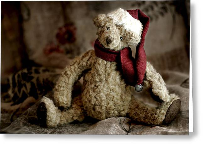 Yuletide Greeting Cards - Santa Bear Greeting Card by Carol Leigh