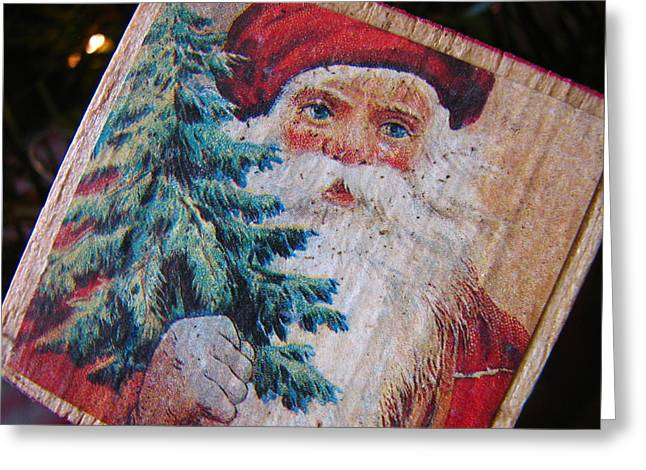 Christmas Season Blocks Greeting Cards - Santa Block Greeting Card by Karen Celella
