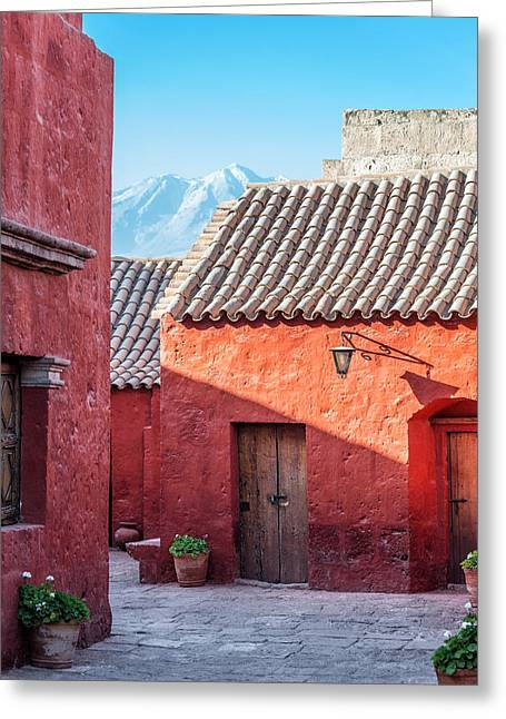 Catherine White Greeting Cards - Santa Catalina Monastery and Volcano Greeting Card by Jess Kraft
