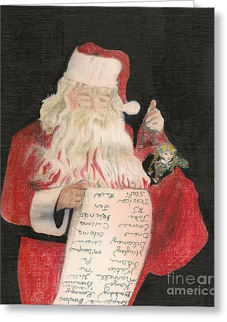 Santa - Checking His List - Christmas Greeting Card by Jan Dappen