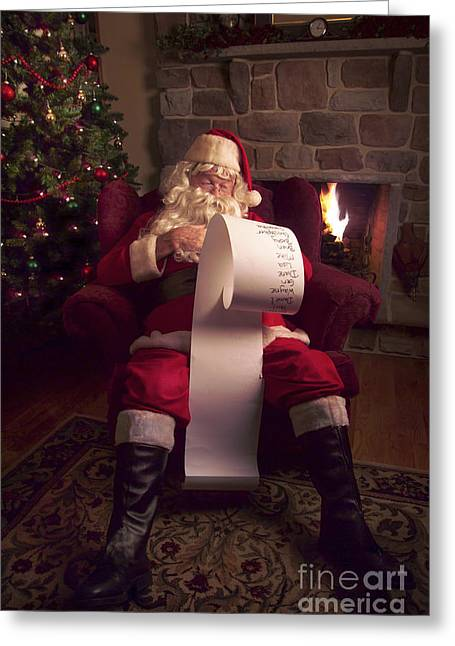 Listed Greeting Cards - Santa Checking HIs List Greeting Card by Diane Diederich