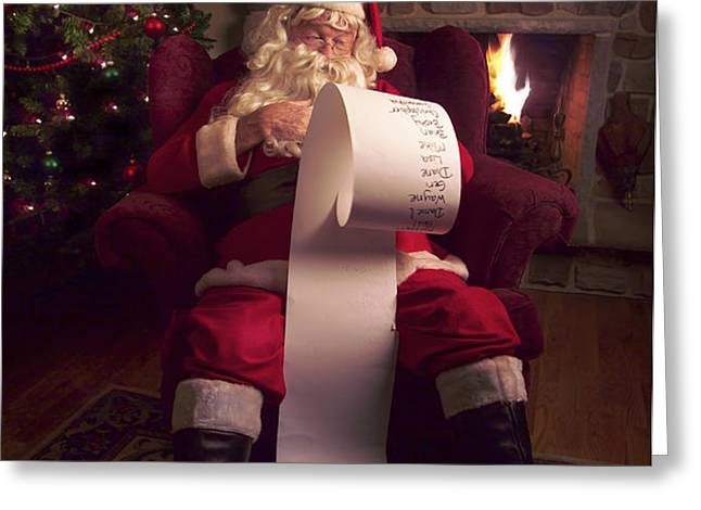 Santa Checking HIs List Greeting Card by Diane Diederich
