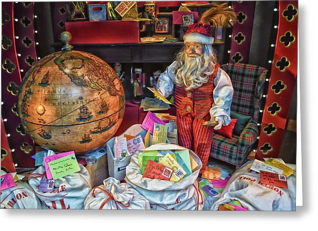 Pajamas Mixed Media Greeting Cards - Santa Checking His Mail HDR Greeting Card by Thomas Woolworth