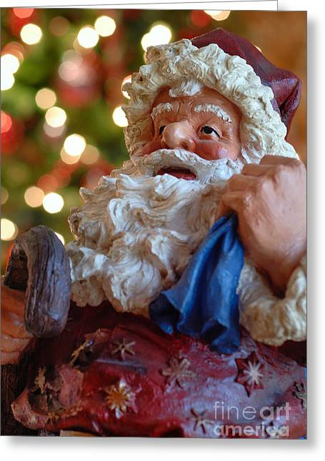 Bokeh Greeting Cards - Santa Claus Greeting Card by Amy Cicconi