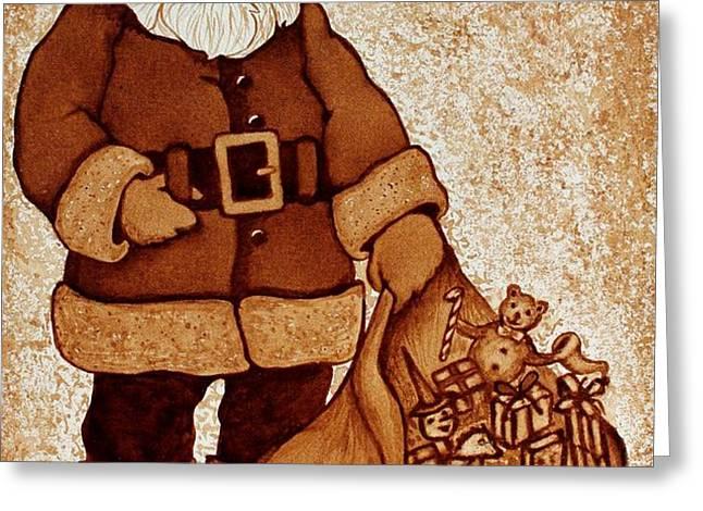 Santa Claus Bag Greeting Card by Georgeta  Blanaru