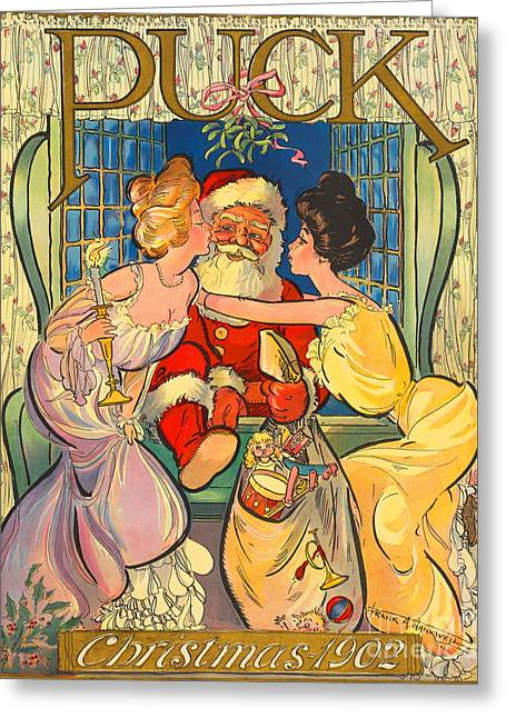 Kelly Greeting Cards - Santa Claus Climbing Into Window 1902 Greeting Card by Jennifer Kelly