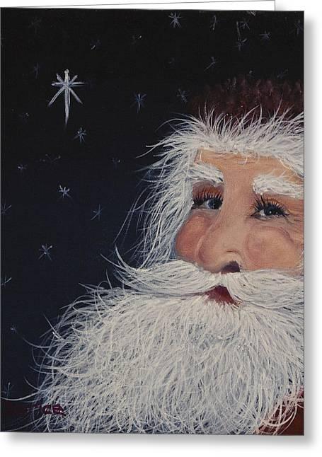 Twinkle Paintings Greeting Cards - Santa Claus Greeting Card by Darice Machel McGuire