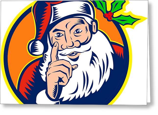 Santa Claus Father Christmas Retro Greeting Card by Aloysius Patrimonio