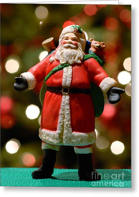 Christmas Lights Greeting Cards - Santa Claus Figure Greeting Card by Amy Cicconi